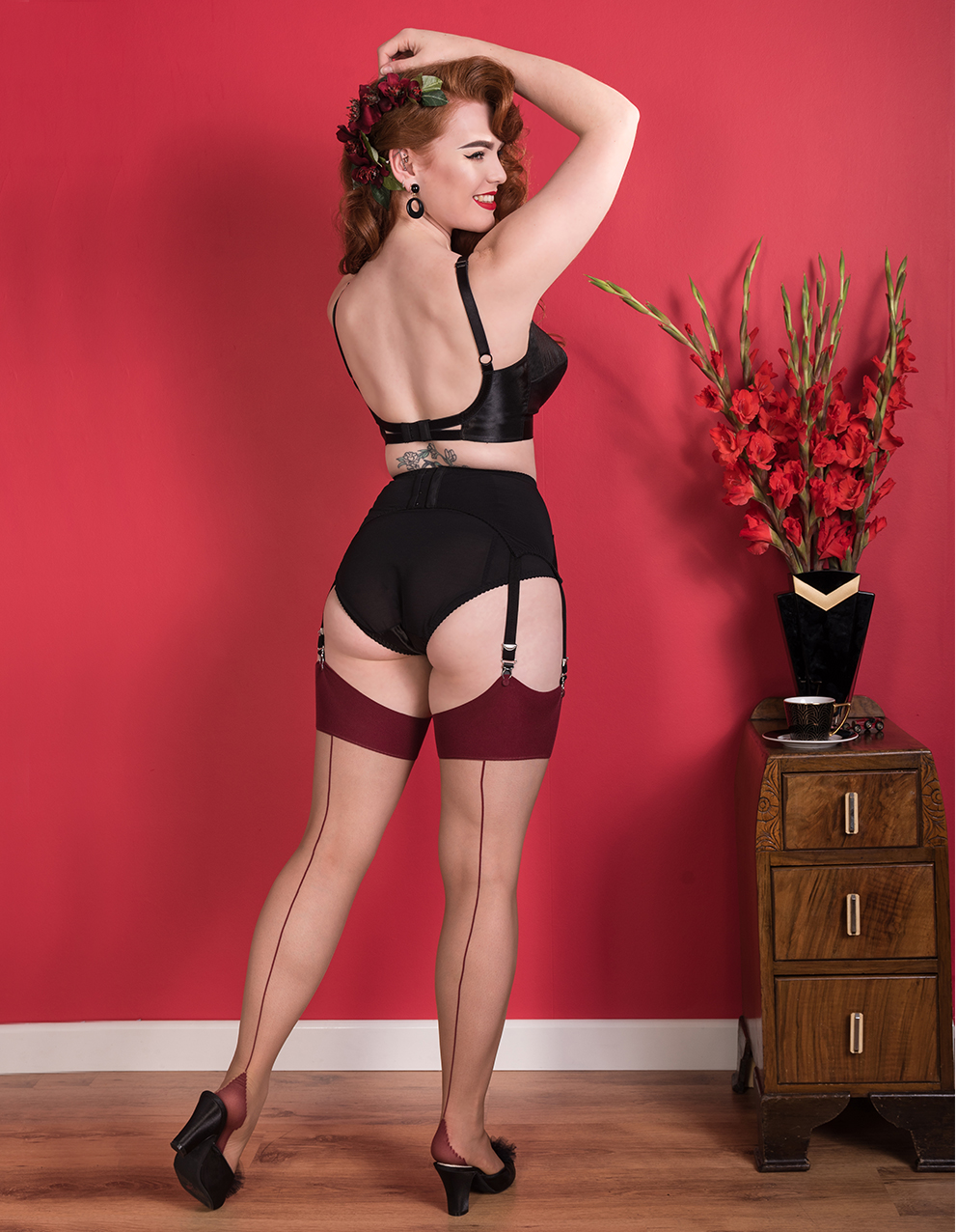 c85f2721c Miss Deadly Red in Maitresse Nouveau Lingerie and Champagne Claret Glamour  Seamed Stockings ...